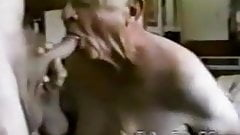 Senior old grandpa sucking another old grandpa's cock