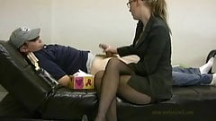 Dr in black pantyhose and heels needs sperm patient