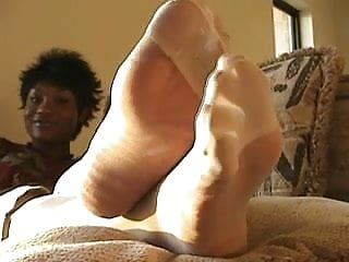 Ebony Nylon Feet Play