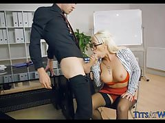 Boss Punishes Employees with Her Pussy