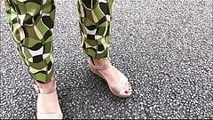spyshot hidden cam sexy feet high heels of my wife red toes