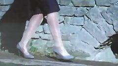 Slut german Woman in Shiny white pantyhose