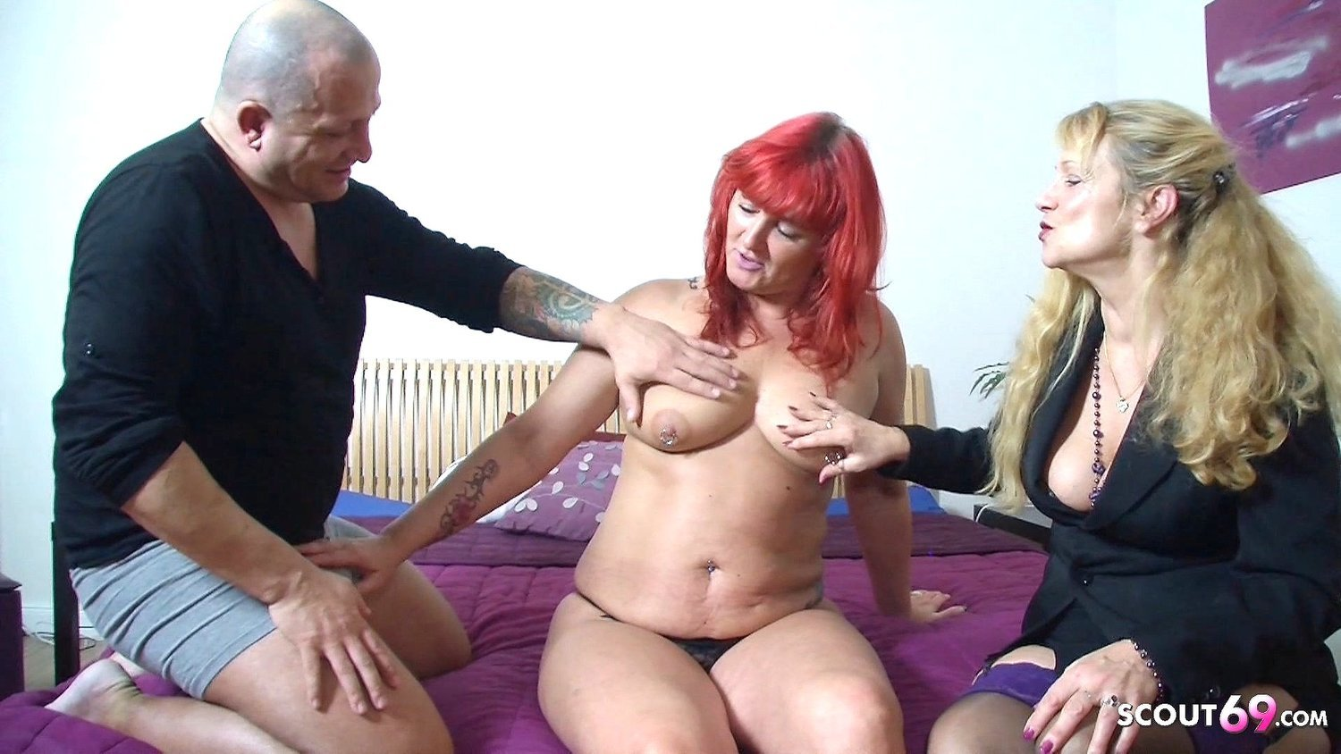German Redhead Mature Wife at First FFM Threesome in Casting