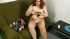Redhead fat girl and her big boobs