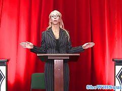 Busty blonde schoolgirl pussyfucked at debate