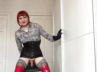 Fetish tranny in pvc overknees and leather micro mini cummin