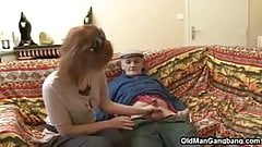 Old man loves sharing hot pussy