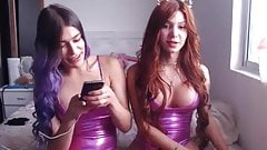 2 teen trans girls in latex buldge