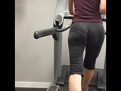 PERFECT View of 2 Chicks with SEE THRU leggings in gym! VPL