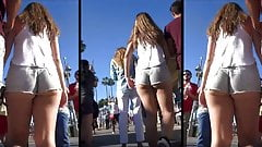 jovencita rabiosa de corto jeans en la calle