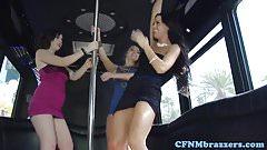 Young CFNM party babes reverse ganbang voyeur