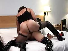 Tgirl on Tgirl banging fun in high heel stiletto boots