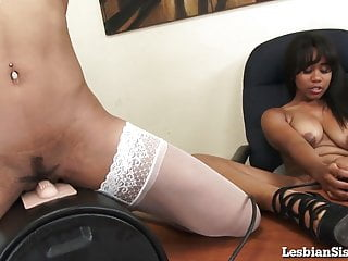 Black Girls Ride A Sybian At The Office!