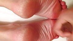Cuming over my Wife's sexy feet 5