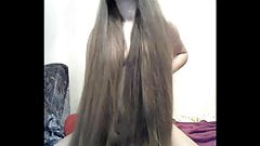 Fantastic Long Haired Striptease and Masturbating, Long Hair