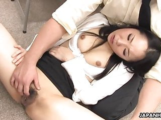 Asian dark raven fucked by her co-workers