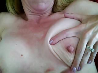 Lady J strokes my load onto her breast