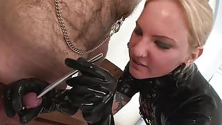 Blonde latex mistress sounding CBT