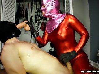 Sub Sucks Dildo for Masked Femdom