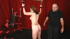 Beautiful girl next-door brunette suspended and tortured in BDSM lair