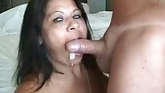 hotwife latin Milf cum kissing her husband