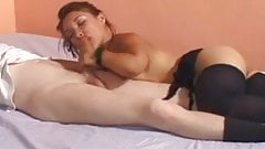 Midget in nylons fucked in bed
