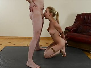 Submissive Slut Obediently Sucks Cock While Being Tied Up