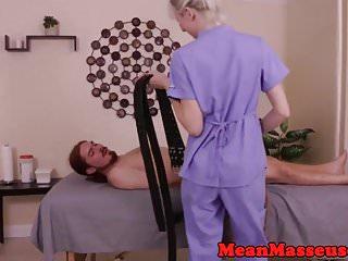 Femdom cbt loving masseuse wanking off sub