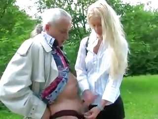 French Girl wanks old man's cock in the country (HJ)
