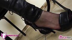 Schoolgirl takes off her heels and stockings