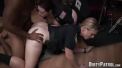 Femdom cops make suspect eat pussy and fuck them hard
