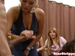 Wild party babes cocksucking stripper