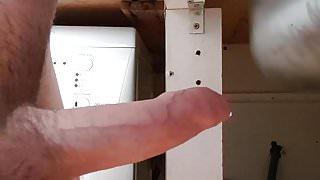 Washing the dishes naked. Floppy precum dick wobble
