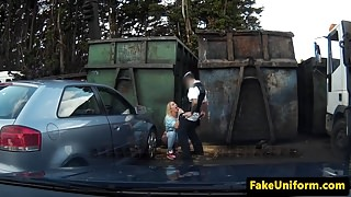 Blonde uk slut pussyfucked by cop outside