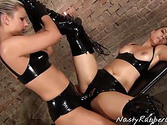 Latex Lesbians, Strapon, Blindfolded, Inflatable Gagged