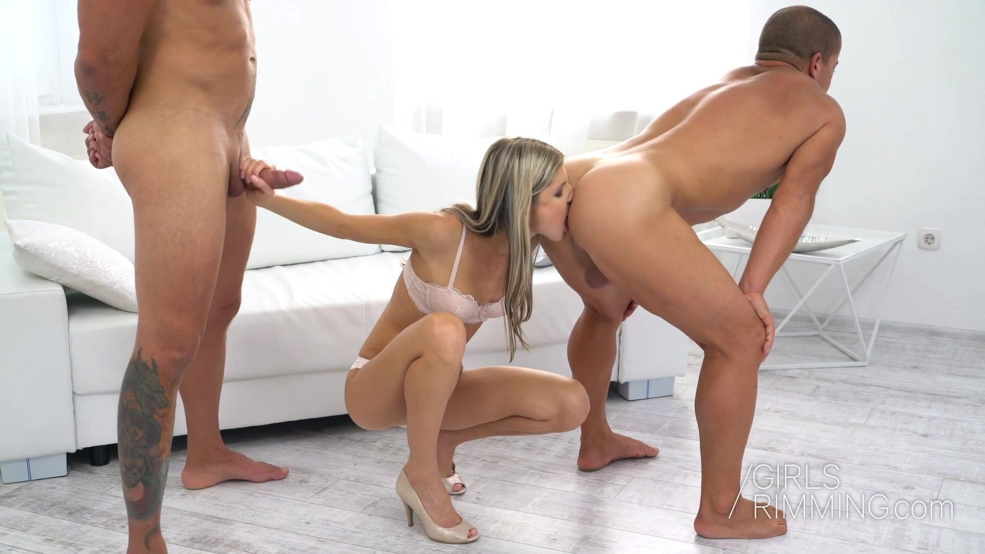 Shaved Teen Anal Threesome