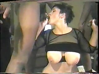Thick white pierced slut gets gangbanged by black men 2 of 4