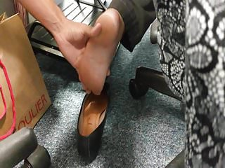 Candid smelly feet and soft soles in flats in job - I touch