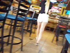 Candid voyeur hot blonde teen waitress