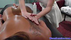 Lesbo massage threeway with asian and ebony