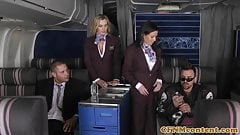 Assfucked CFNM stewardess joins mile high club