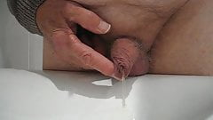 My little one precums, pees & gets foreskin tugged