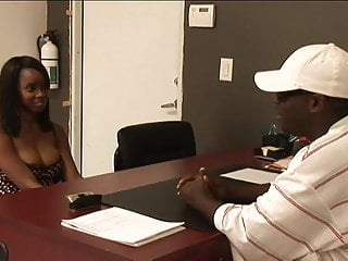 Preview 2 of Black stud gets to fuck a hot ebony girl in his office