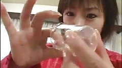 Japanese girl swallowing some cum