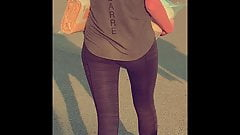 skinny girl in active fit leggings candid long legs