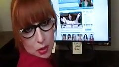 Naughty red head at the office