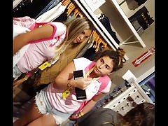 Candid voyeur teen pink backpack cheeks