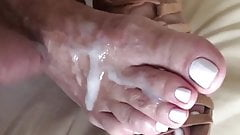 cream on white toes
