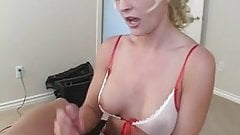 Busty blonde giving good handjob and getting cumshot