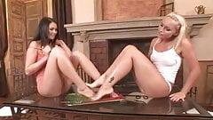 Messy lesbian foot worshiping